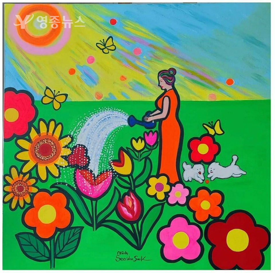 "행복한 정원의 추억, ""Happy garden memories"" Acrylic on canvas 90x90cm 35.4x35.4 inch ) 2020"